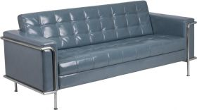 Hercules Lesley Series Contemporary Gray Leather Sofa with Encasing Frame [ZB-LESLEY-8090-SOFA-GY-GG]