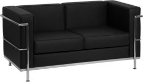 HERCULES Regal Series Contemporary Black Leather Loveseat with Encasing Frame [ZB-REGAL-810-2-LS-BK-GG]