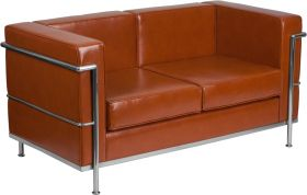 Hercules Regal Series Contemporary Cognac Leather Loveseat with Encasing Frame [ZB-REGAL-810-2-LS-COG-GG]