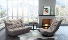 Zuo Down Low Living Room Set in Grey