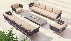 Zuo Glass Beach Outdoor Set in Taupe & Granite