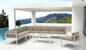 Zuo Golden Outdoor Sectional Sofa in White & Taupe