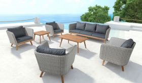 Zuo Grace Outdoor Set in Natural & Grey