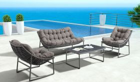 Zuo Ingonish Modern Outdoor Set in Gray