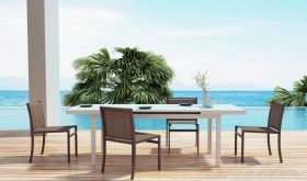 Zuo Mayakob Outdoor Dining Set in White & Brown