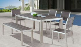 Zuo Metropolitan Dining Room Set in Brushed Aluminum