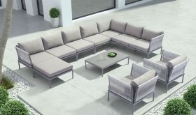 Zuo Sand Beach Outdoor Set in Grey & Granite