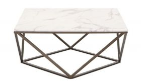 Zuo Tintern Coffee Table in Stone & Antique Brass