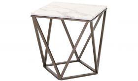 Zuo Tintern End Table in Stone & Antique Brass