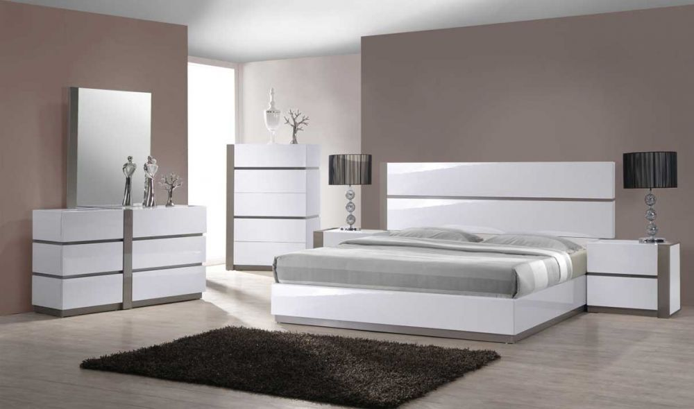 Carlsbad Modern Bedroom Set in Gloss White & Gray | Get.Furniture