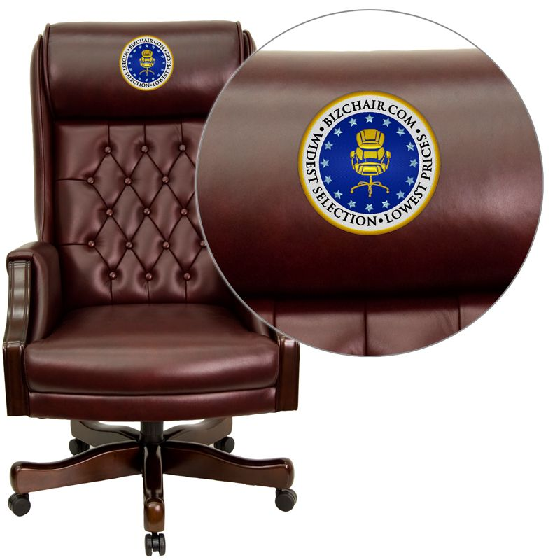 Embroidered High Back Traditional Tufted Burgundy Leather Executive Swivel Office Chair Kc C696tg Emb Gg