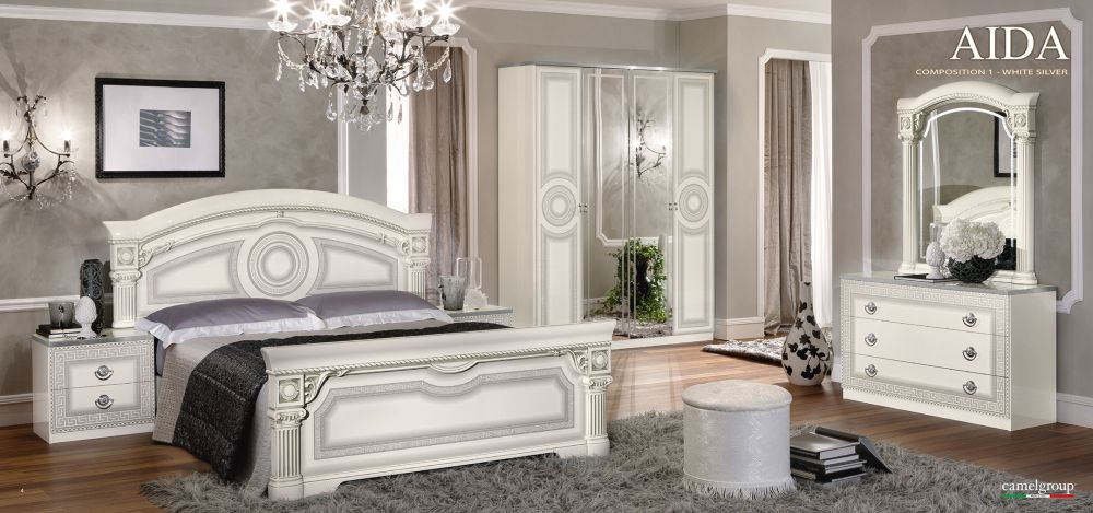 Aida Italian Bedroom Set In White Silver Bedroom Set Online