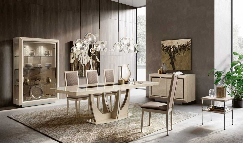 Gliano Modern Dining Room Set In Ivory