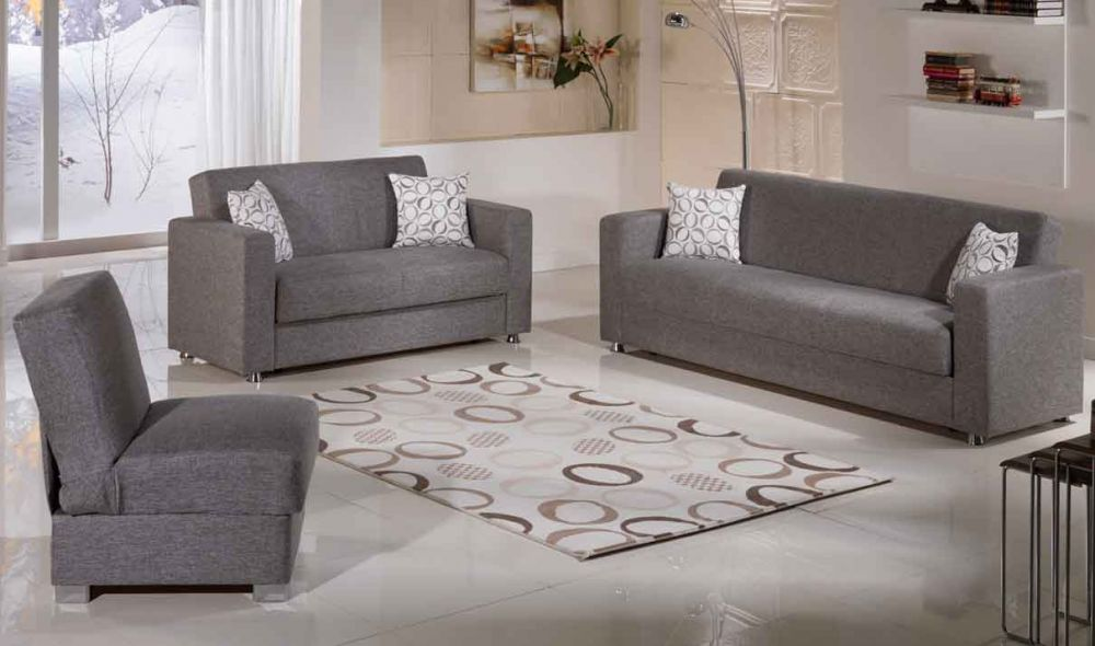Tokyo Convertible Living Room Set In Diego Grey By Istikbal