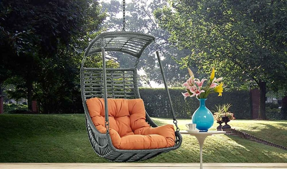 jungle outdoor patio swing chair without stand in orange lifestyle 1
