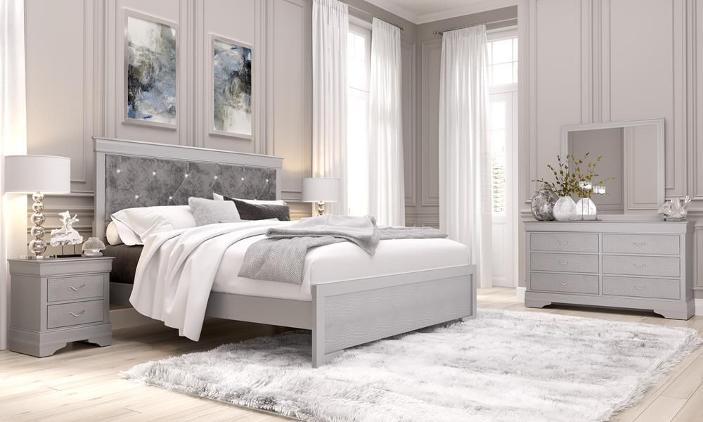Marfa Contemporary Bedroom Set In Silver Get Furniture