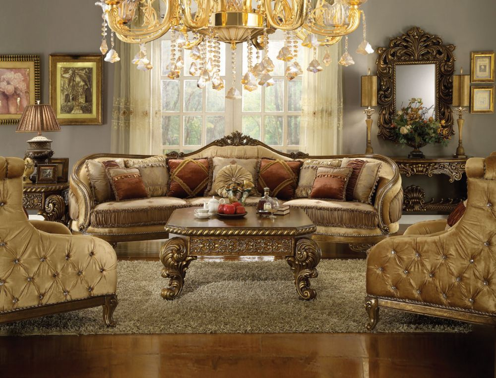 Prichard Traditional Living Room Set In Chenille Gold Brown Get Furniture