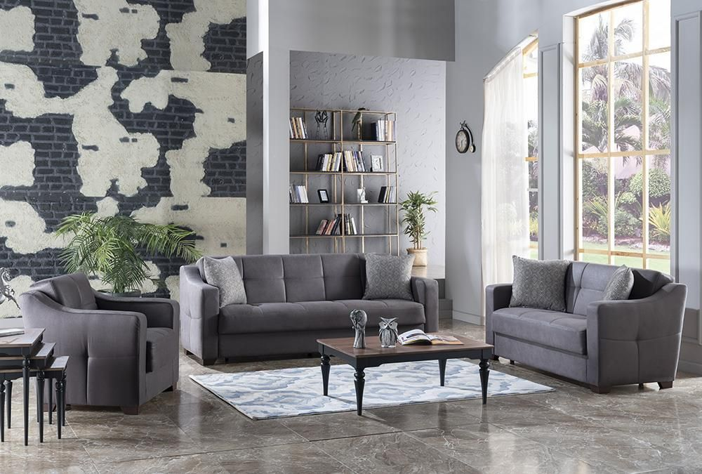Living Room Set In Melson Dark Gray